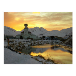 Iglesia ortodoxa rusa, salida del sol del invierno tarjeta postal