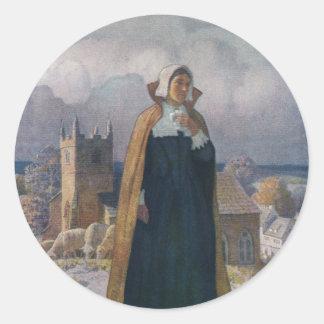 Iglesia, ovejas y señora en vestido del siglo XVI Pegatina Redonda