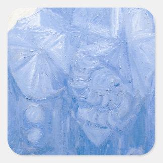 Iglesia pagana azul (arquitectura surrealista) calcomania cuadradas personalizada