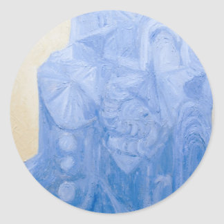 Iglesia pagana azul (arquitectura surrealista) pegatina redonda