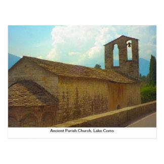 Iglesia parroquial antigua, lago Como Postal