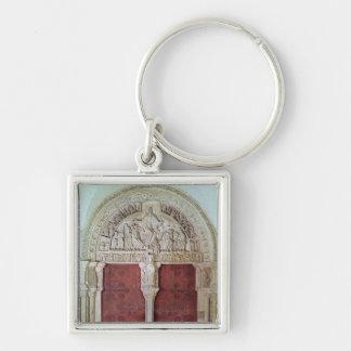 Iglesia porta central Sainte-Madelaine de Narthex Llavero Cuadrado Plateado