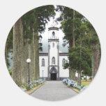 Iglesia portuguesa etiqueta redonda