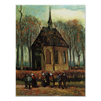 Iglesia reformada en Nuenen, bella arte de Van Póster