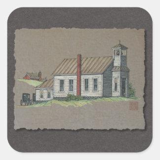 Iglesia rural de madera calcomanías cuadradases