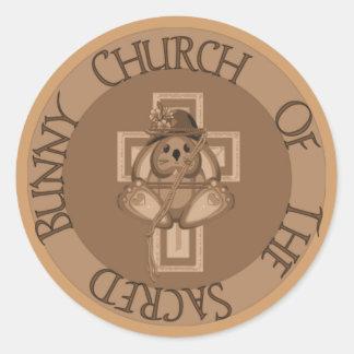 Iglesia sagrada del conejito etiqueta redonda