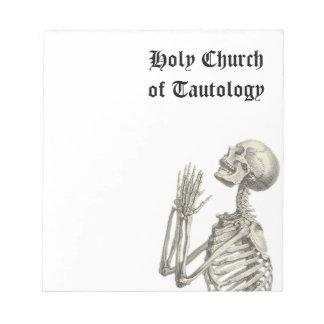 Iglesia santa de la libreta de la tautología libreta para notas