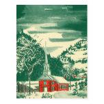 Iglesia Snowscape del navidad del vintage en Tarjeta Postal
