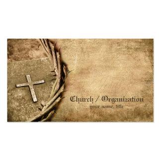 Iglesia tarjeta de visita cruzada envejecida organ