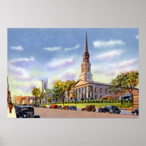 Iglesia unitaria de Worcester Massachusetts en la  Póster