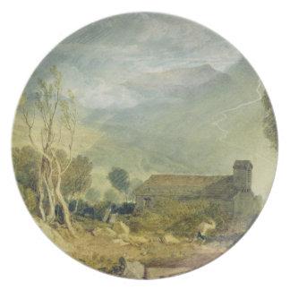 Iglesia vieja de Patterdale, c.1810-15 (w/c sobre  Platos