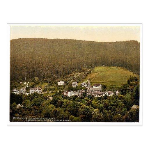 Iglesia, Wildbad, bosque negro, Baden, clas de Ale Tarjetas Postales