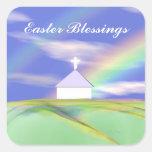 Iglesia y arco iris de Pascua Etiqueta