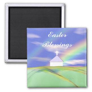 Iglesia y arco iris de Pascua Imán Cuadrado