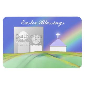 Iglesia y arco iris de Pascua Imanes Rectangulares