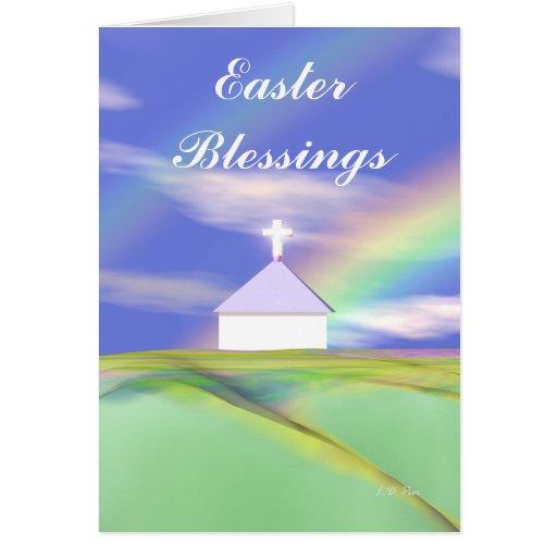 Iglesia y arco iris de Pascua Tarjeta De Felicitación