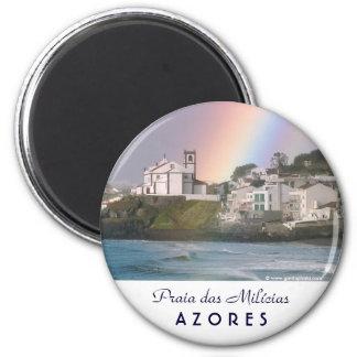 Iglesia y arco iris imán redondo 5 cm