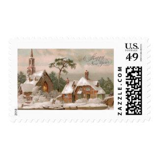 Iglesia y casa de piedra de Tudor en invierno Sellos