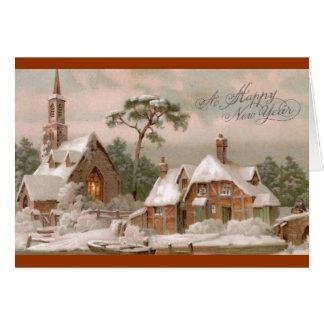 Iglesia y casa de piedra de Tudor en invierno Felicitacion
