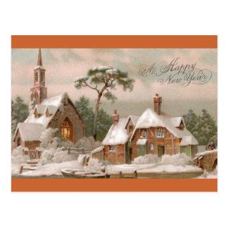 Iglesia y casa de piedra de Tudor en invierno Tarjeta Postal