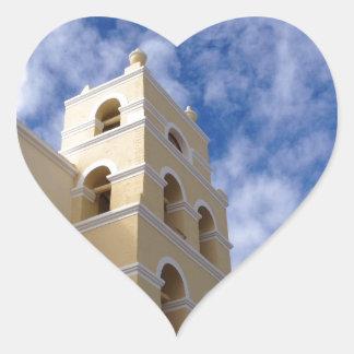 iglesia y cielo hermosos calcomania de corazon personalizadas