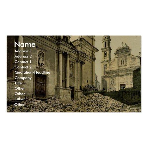 Iglesia y escombros, foto del vintage de San Remo, Tarjetas De Visita