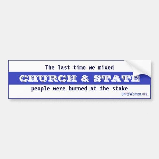 Iglesia y estado pegatina para auto