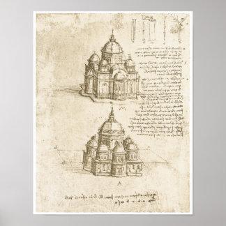 Iglesias abovedadas, Leonardo da Vinci, 1488 Póster