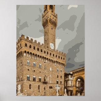 Iglesias y edificios italianos antiguos poster