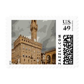 Iglesias y edificios italianos antiguos sello
