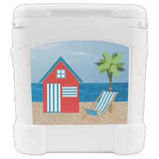 Igloo Cooler on Wheels with Beach Hut Igloo Roller Cooler