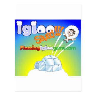Igloo Saved Flaming Igloo Game Postcard
