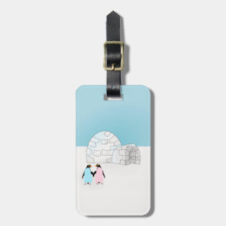 Igloo with colored penguins bag tag
