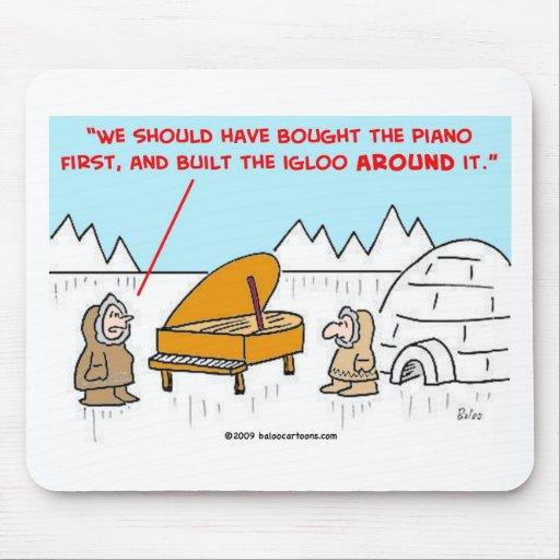 iglú Eskimoes del piano Tapete De Ratones