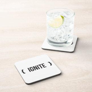 Ignite - Bracketed - Black and White Beverage Coasters