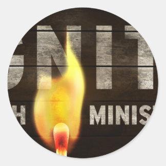Ignite youth ministries round sticker