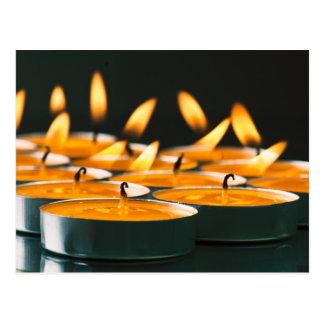 Ignited candles basic yellow postcard