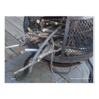 """""""IGNITION"""" Wood in Metal Chimnea Maine Photo PRINT"""