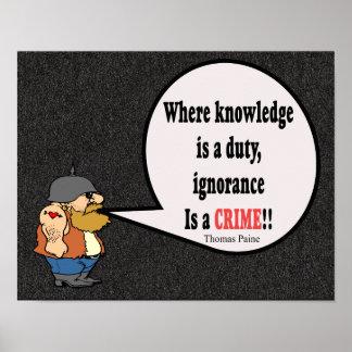 Ignorance a Crime! Thomas Paine quote - art print