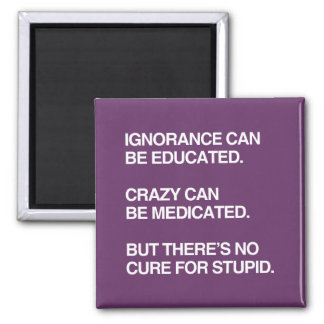 IGNORANCE CAN BE EDUCATED 2 INCH SQUARE MAGNET