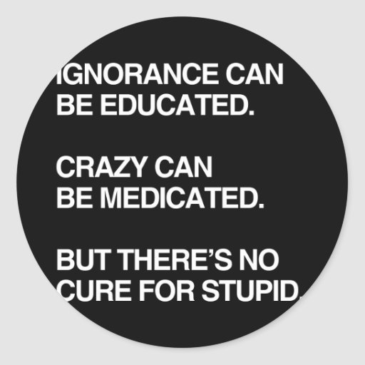 IGNORANCE CAN BE EDUCATED CLASSIC ROUND STICKER