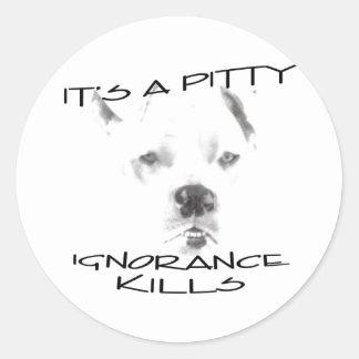 Ignorance Kills Pitt Bulls Classic Round Sticker