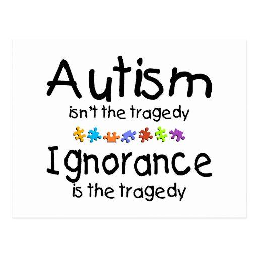 Ignorancia del autismo tarjeta postal