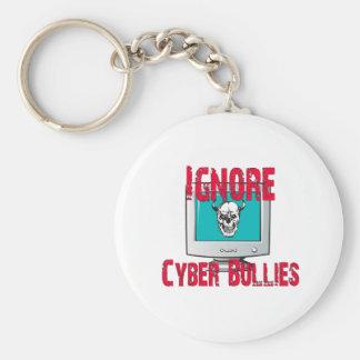 Ignore a los matones cibernéticos llavero redondo tipo pin