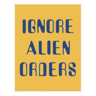 Ignore las órdenes extranjeras postales