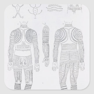 Igorrote tattooing square sticker