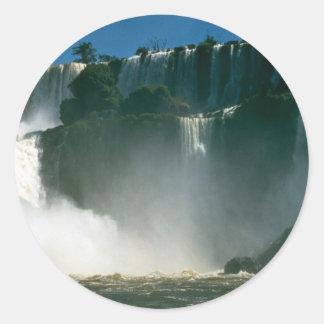 Iguacu Falls from below, Iguacu River, Argentina Round Stickers