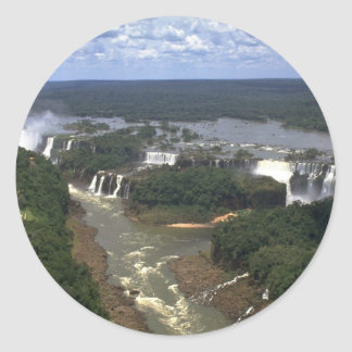 Iguacu Falls from the air, border of Argentina and Round Sticker
