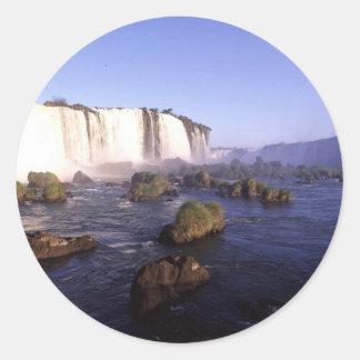 Iguacu Water Falls Brazil Round Stickers