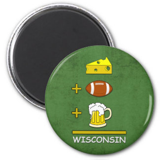 Igual Wisconsin de la cerveza del fútbol del queso Imán Redondo 5 Cm